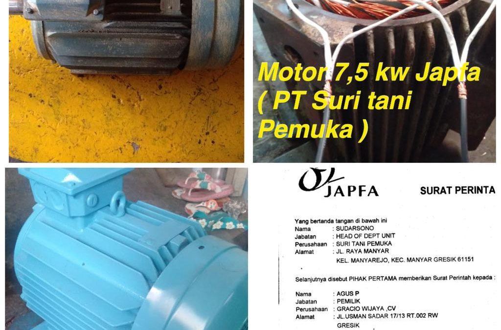 Rewinding motor 7,5kw Japfa PT SURITANI PEMUKA Gresik